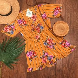 NEW! Mustard Floral Romper with Tie Front